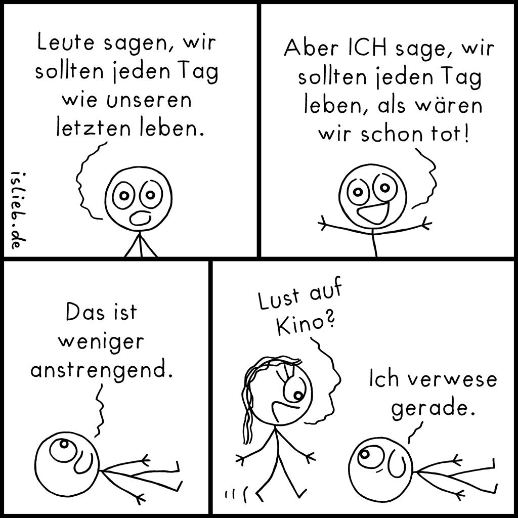 Lebensphilosophie | Strichmännchen-Comic | is lieb?