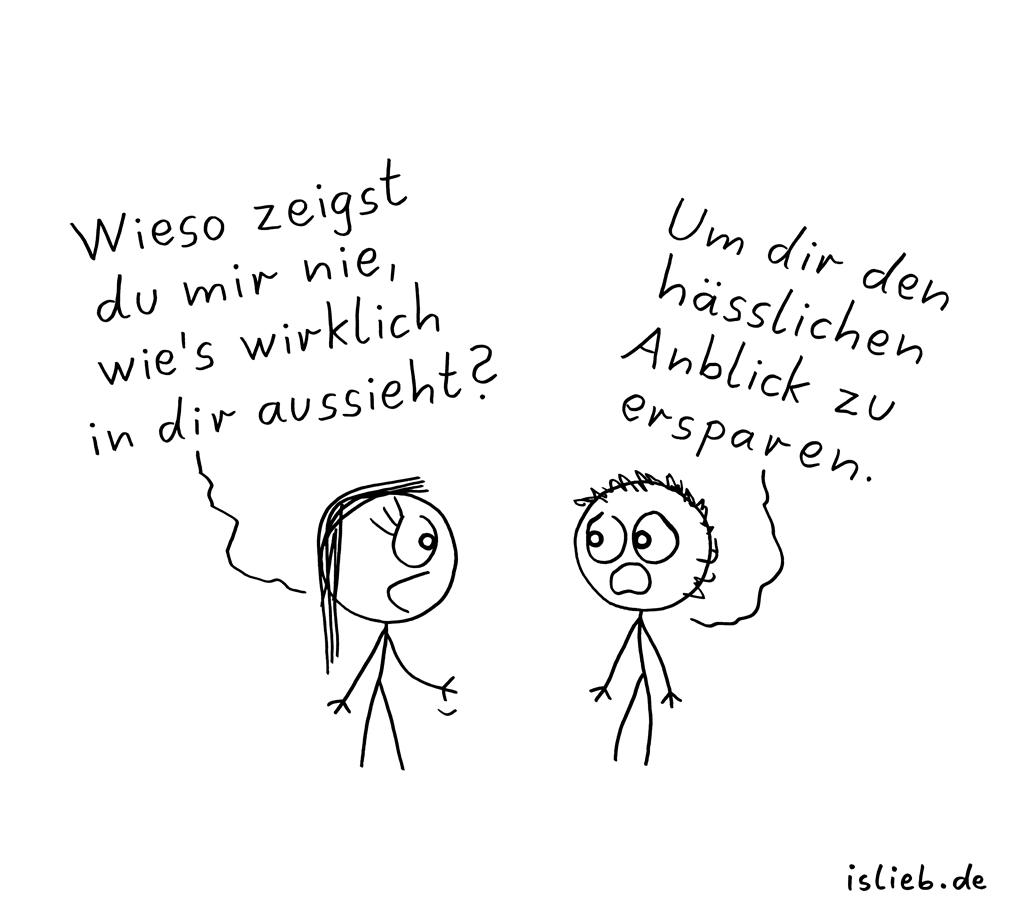 Verschlossen | Strichmännchen-Cartoon | is lieb?