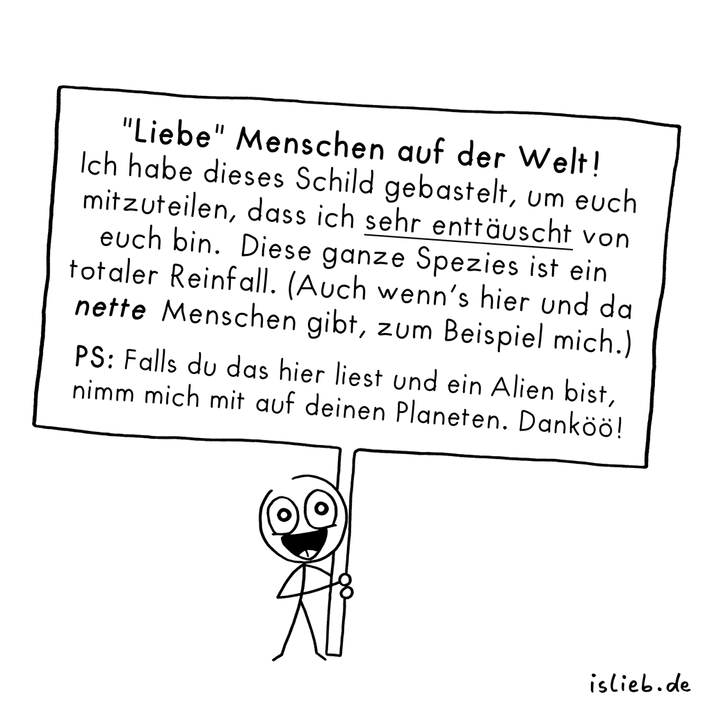 Mitteilung | Statement-Cartoon | is lieb?