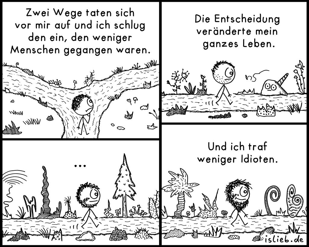 Zwei Wege | Philosophie-Comic | is lieb?