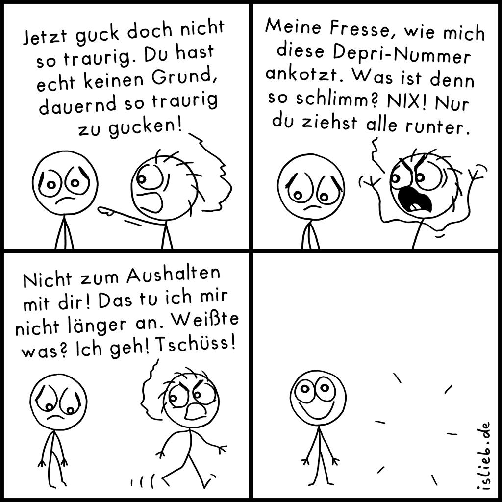 Traurig gucken | Strichmännchen-Comic | is lieb?