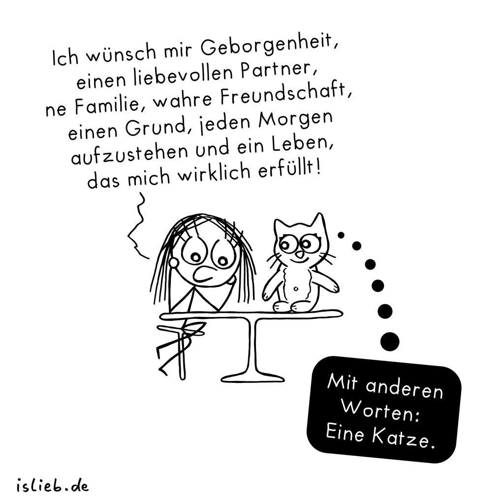 Wunschliste | Katzen-Cartoon | is lieb?