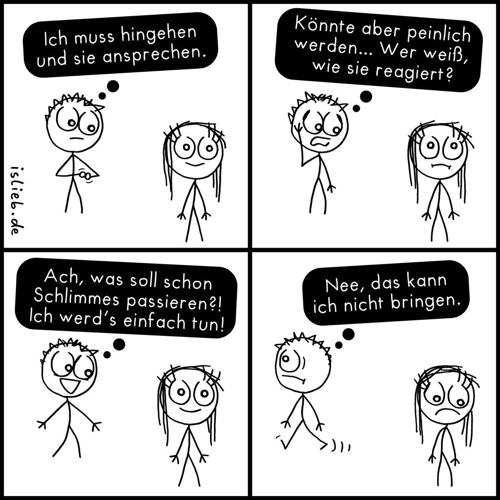 Hingehen & ansprechen | Strichmännchen-Comic | is lieb?