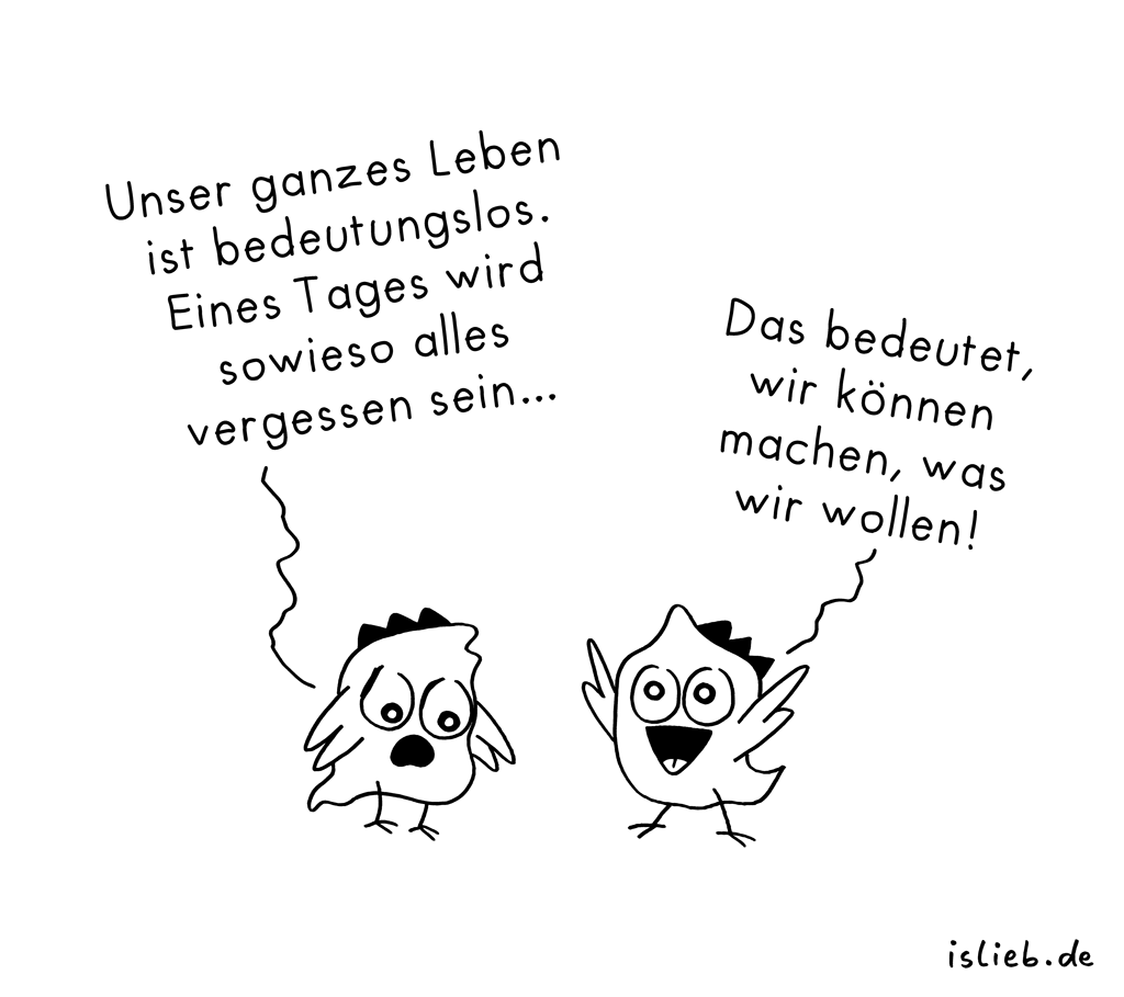 Bedeutung | Philosophie-Cartoon | is lieb?