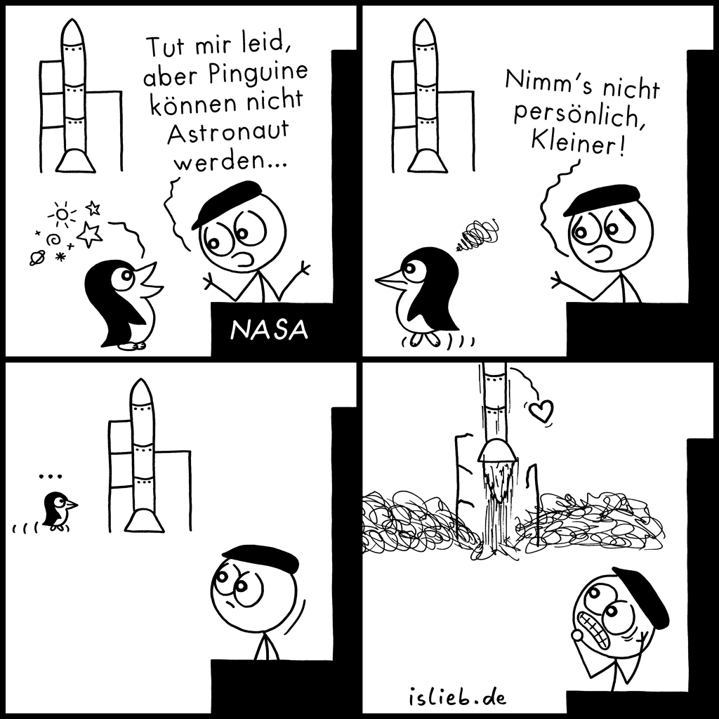 Astronaut werden | Pinguin-Comic | is lieb?