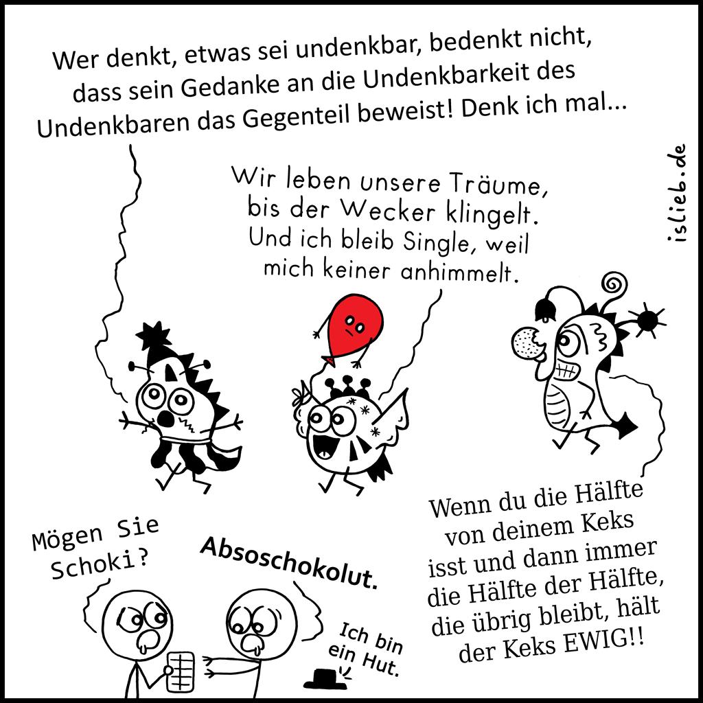 Schwarzweißheiten | Philosophie-Cartoon | is lieb?