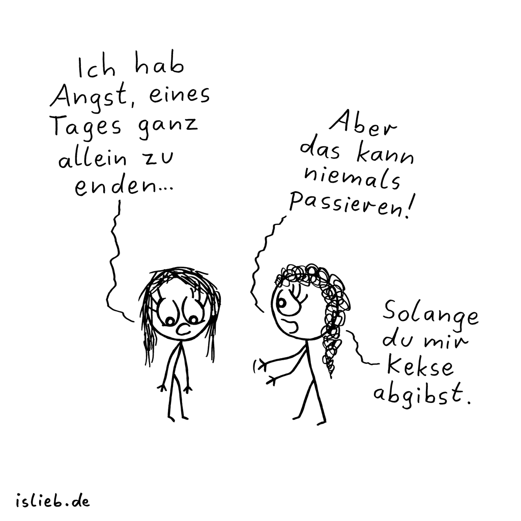Nie allein | Freundschafts-Cartoon | is lieb?