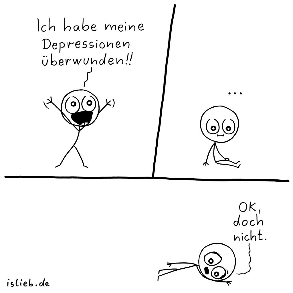 Überwindung | Strichmännchen-Comic | is lieb?