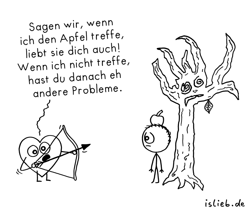 Apfeltest | Herz-Cartoon | is lieb?