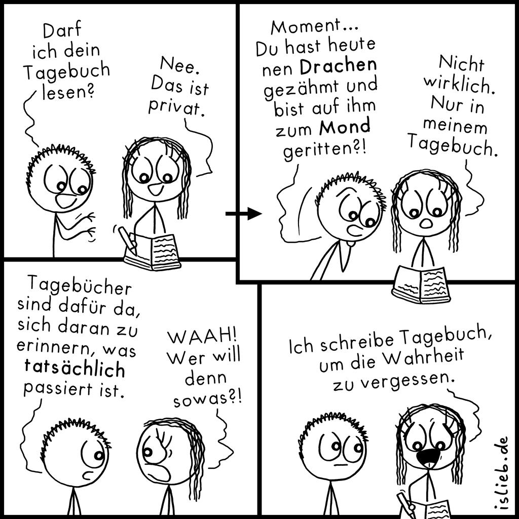 Tagebuch | Strichmännchen-Comic | is lieb?