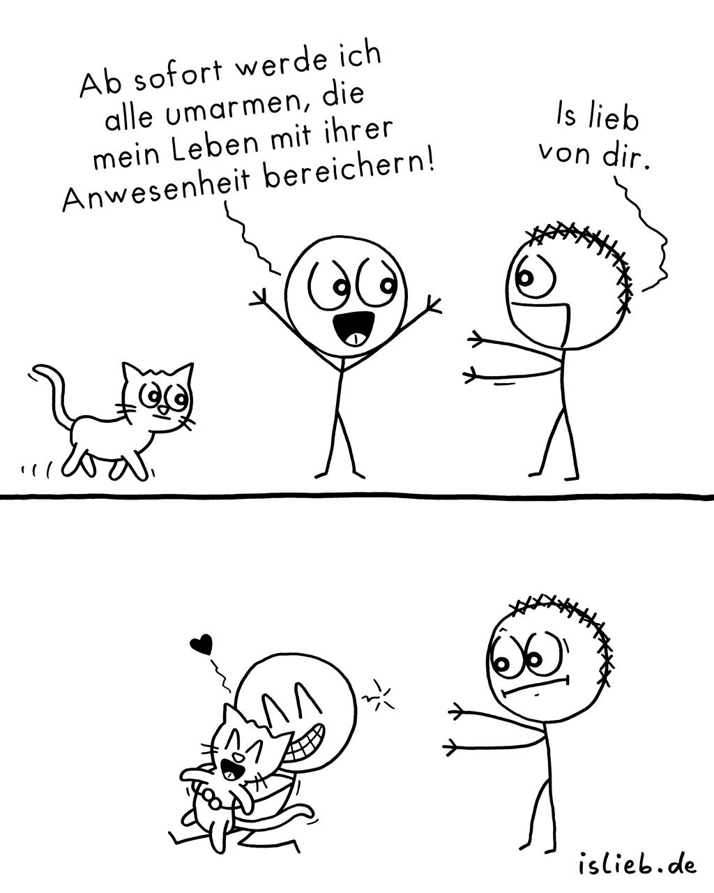 Alle umarmen | Strichmännchen-Comic | is lieb?