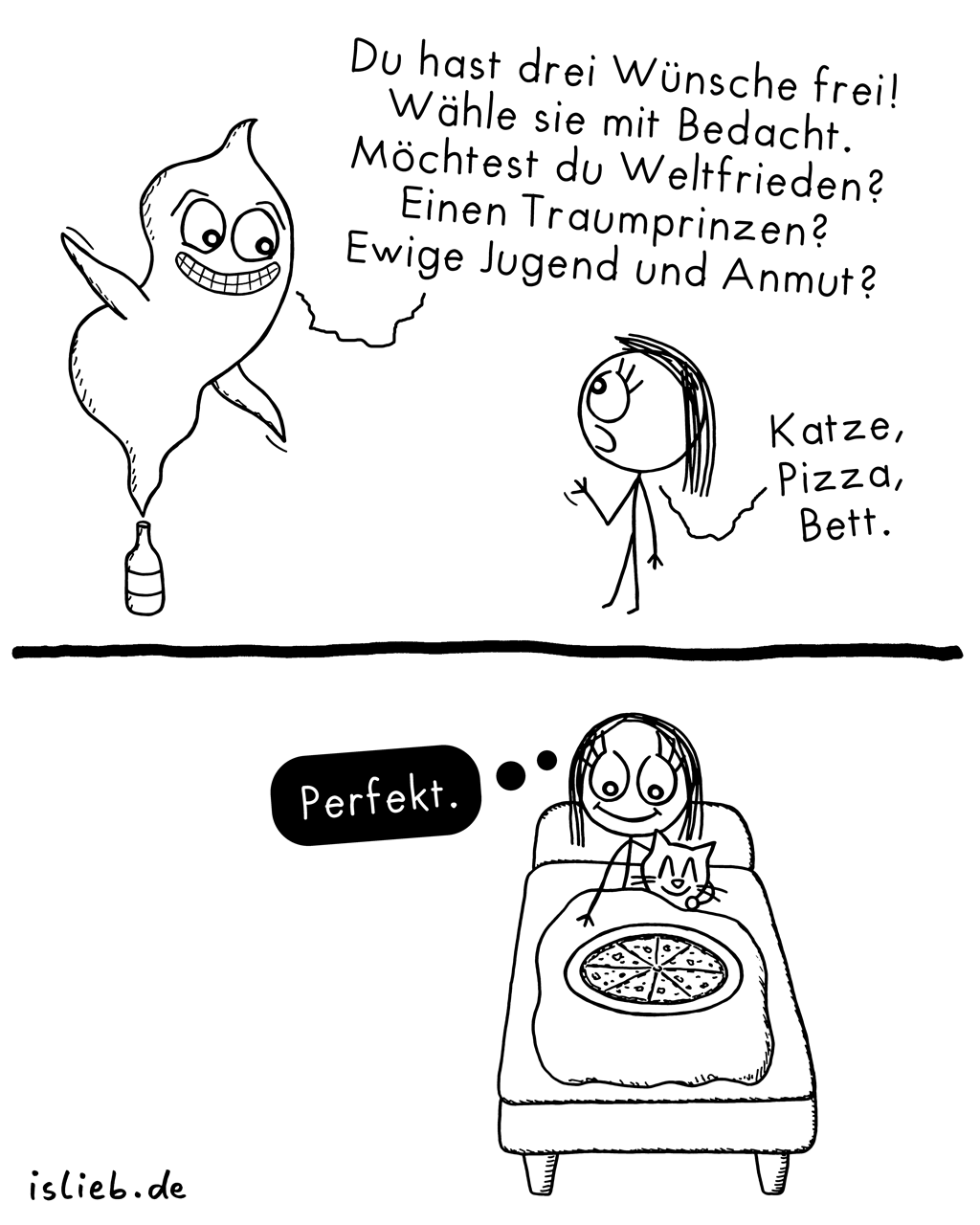 Drei Wünsche | Flaschengeist-Comic | is lieb?