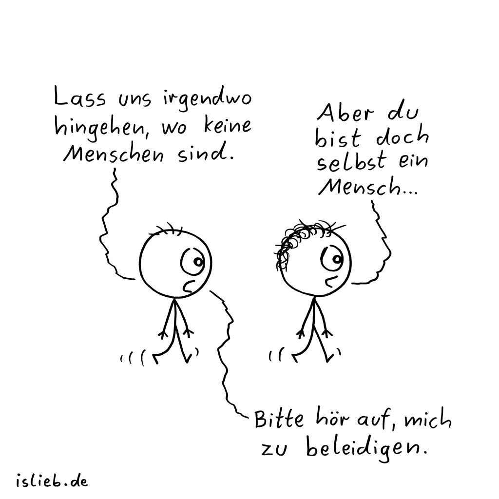 Irgendwo hingehen | Strichmännchen-Cartoon | is lieb?