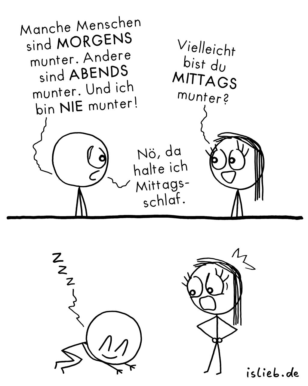 Munter | Strichmännchen-Comic | is lieb?