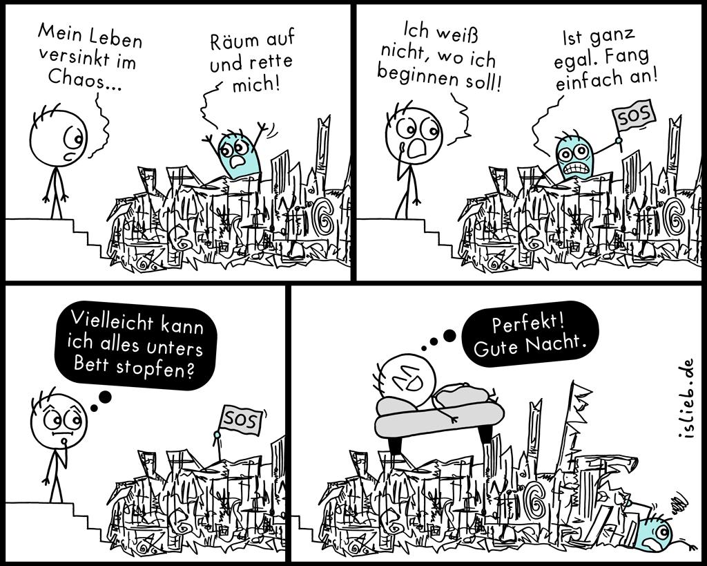 Im Chaos | Strichmännchen-Comic | is lieb?