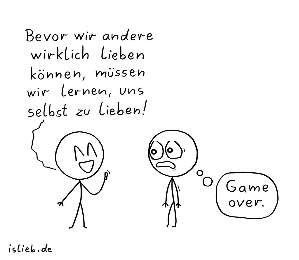 Lieben lernen | Strichmännchen-Cartoon | is lieb?