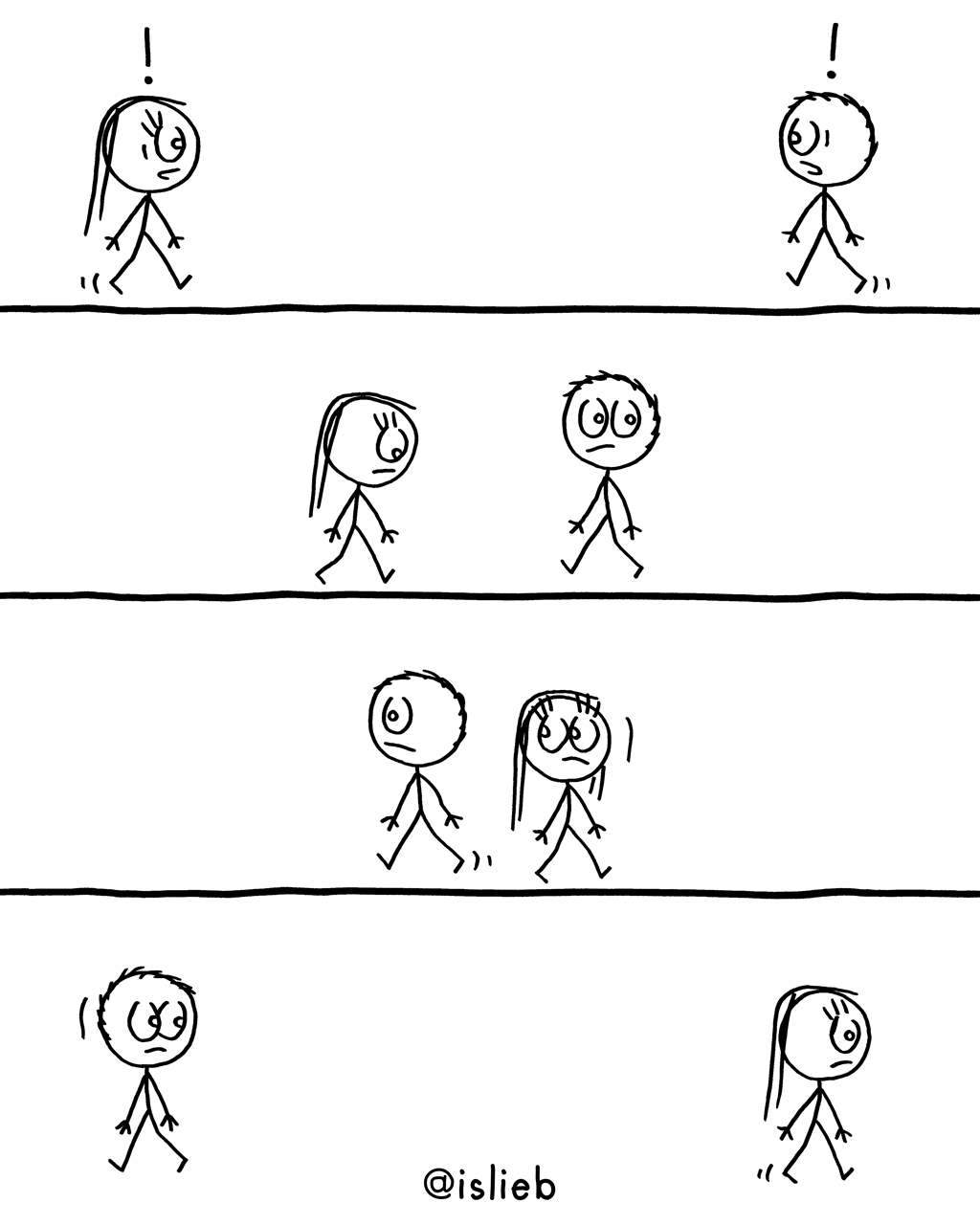 Begegnung | Strichmännchen-Comic | is lieb?