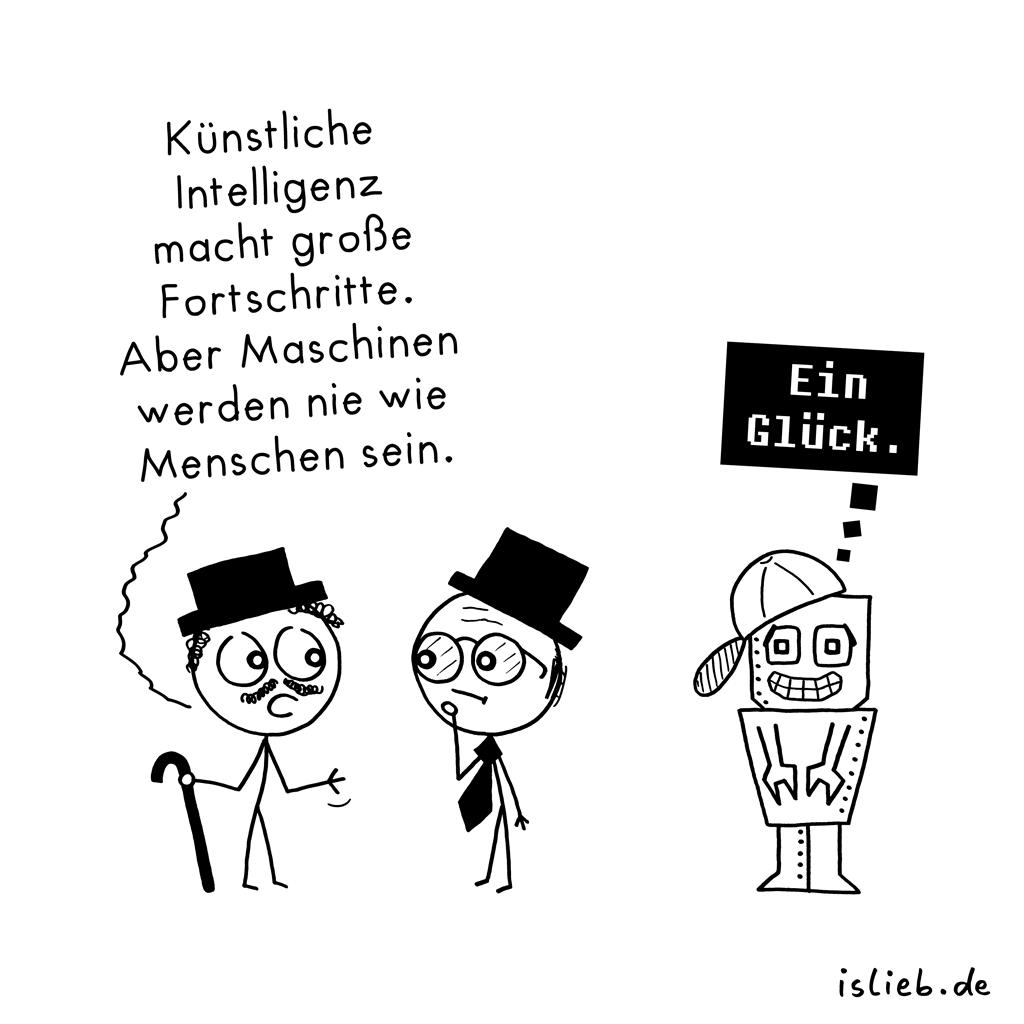 Große Fortschritte | Roboter-Cartoon | is lieb?