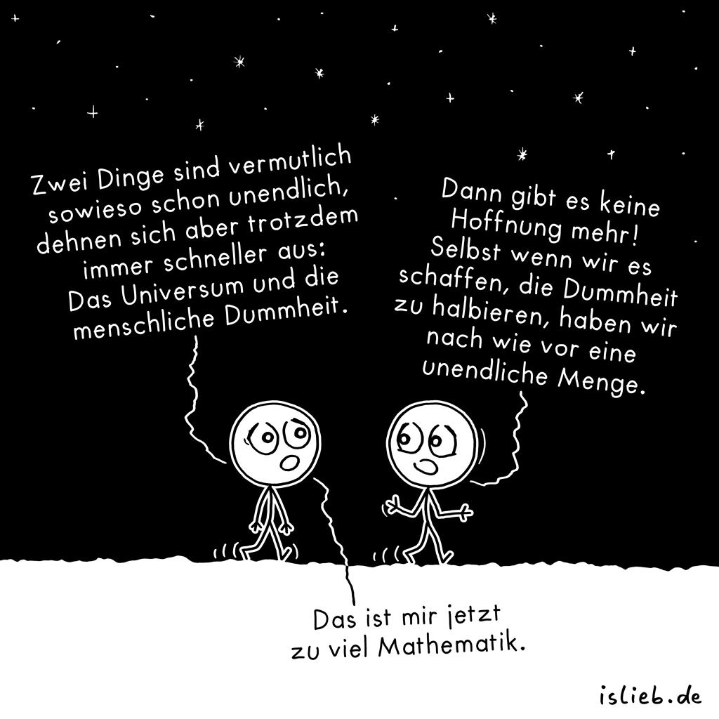 Unendlichkeit | Kosmologie-Cartoon | is lieb?