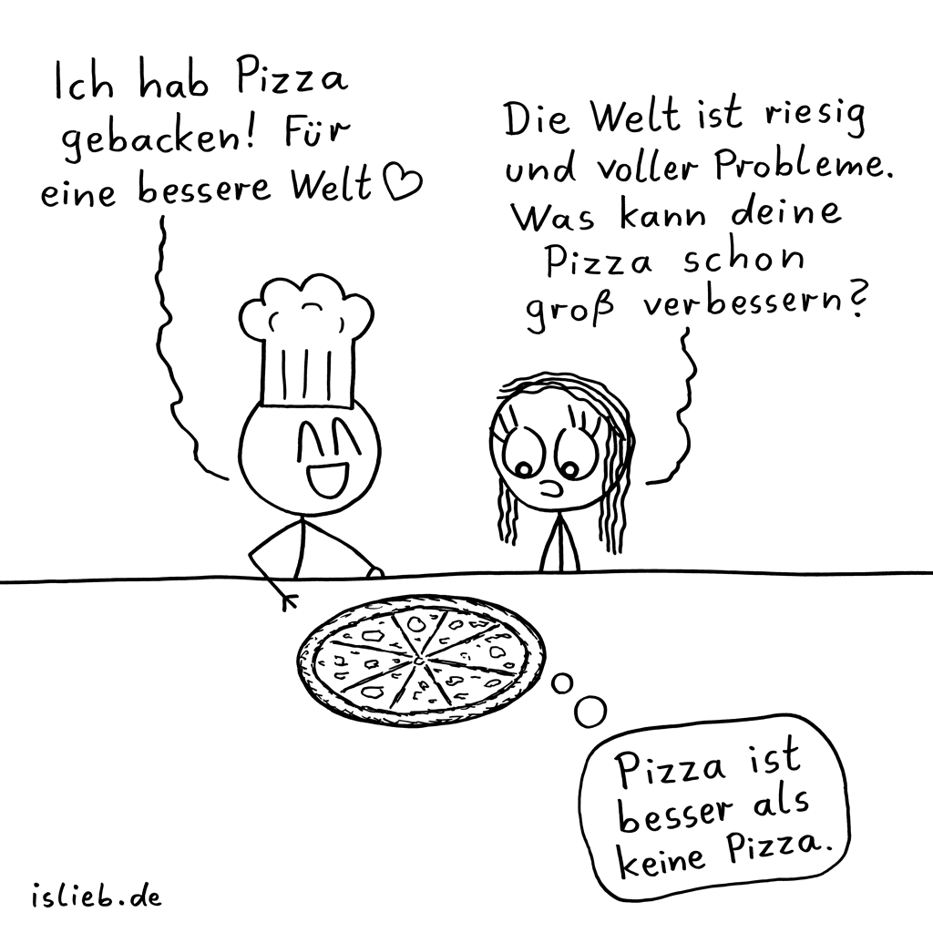 Weltverbesserung | Pizza-Cartoon | is lieb?