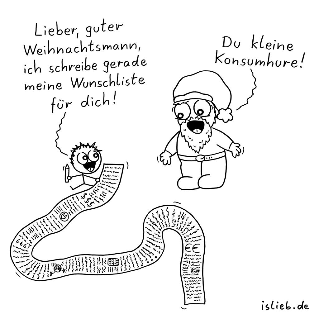Wunschliste | Weihnachtsmann-Cartoon | is lieb?