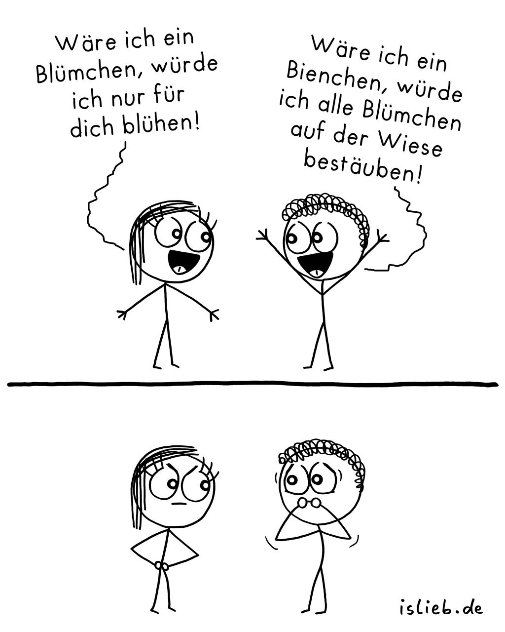 Blümchen / Bienchen | Strichmännchen-Comic | is lieb?