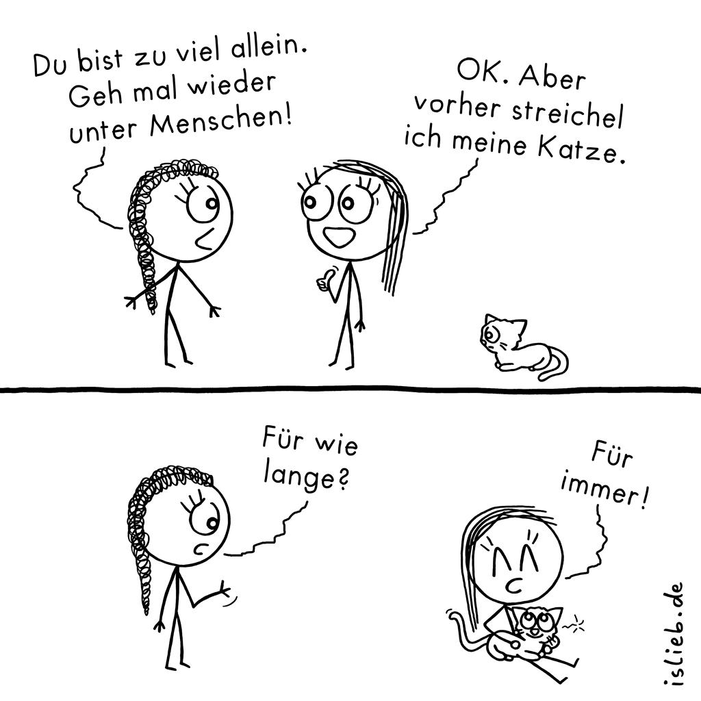 Zu viel allein? | Katzen-Comic | is lieb?
