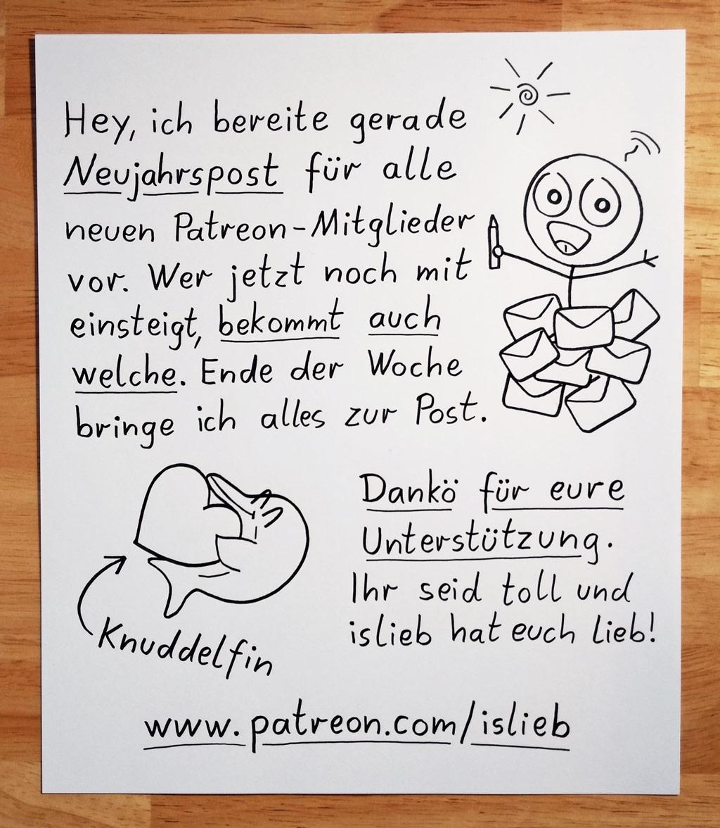 Neujahrspost für islieb-Patronen!