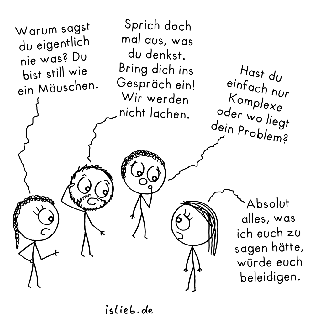 Mitreden | Strichmännchen-Cartoon | is lieb?