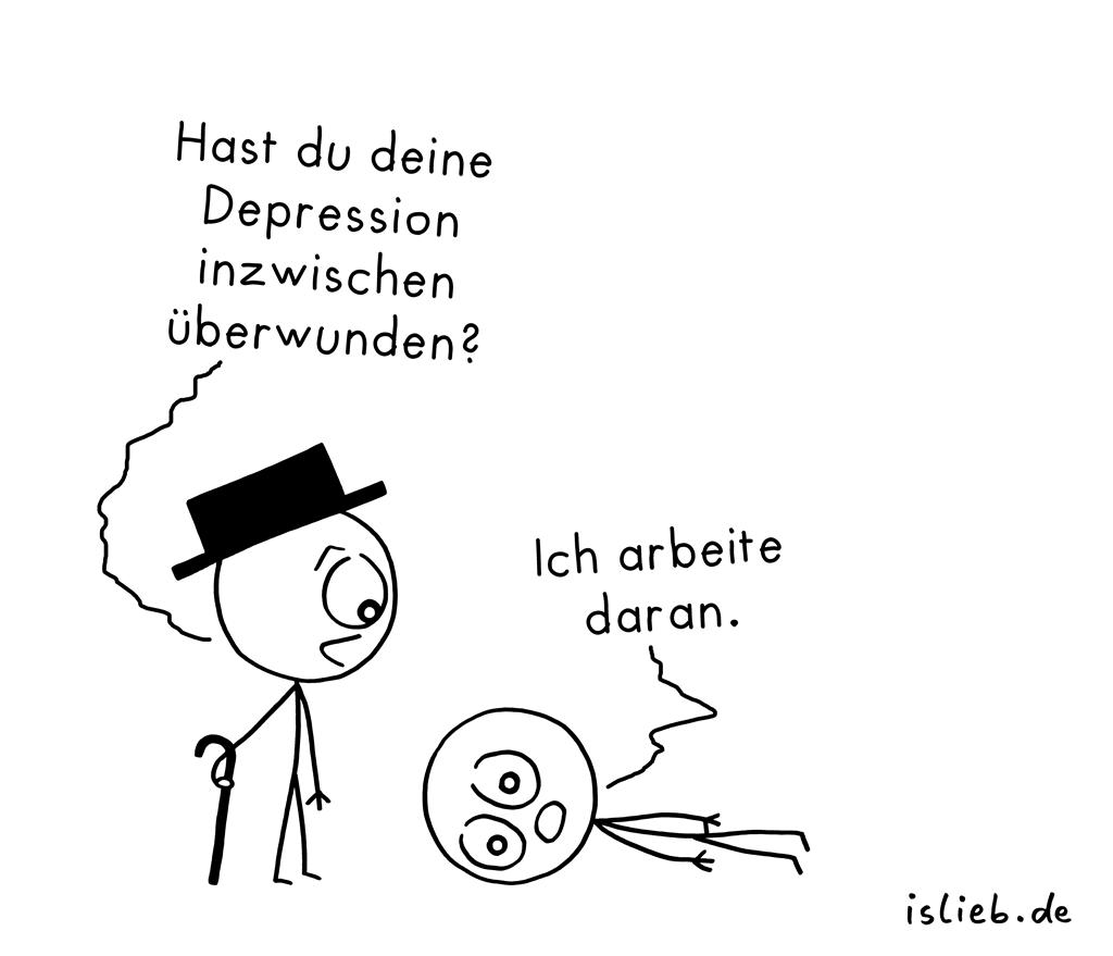 Überwunden | Depressions-Cartoon | is lieb?