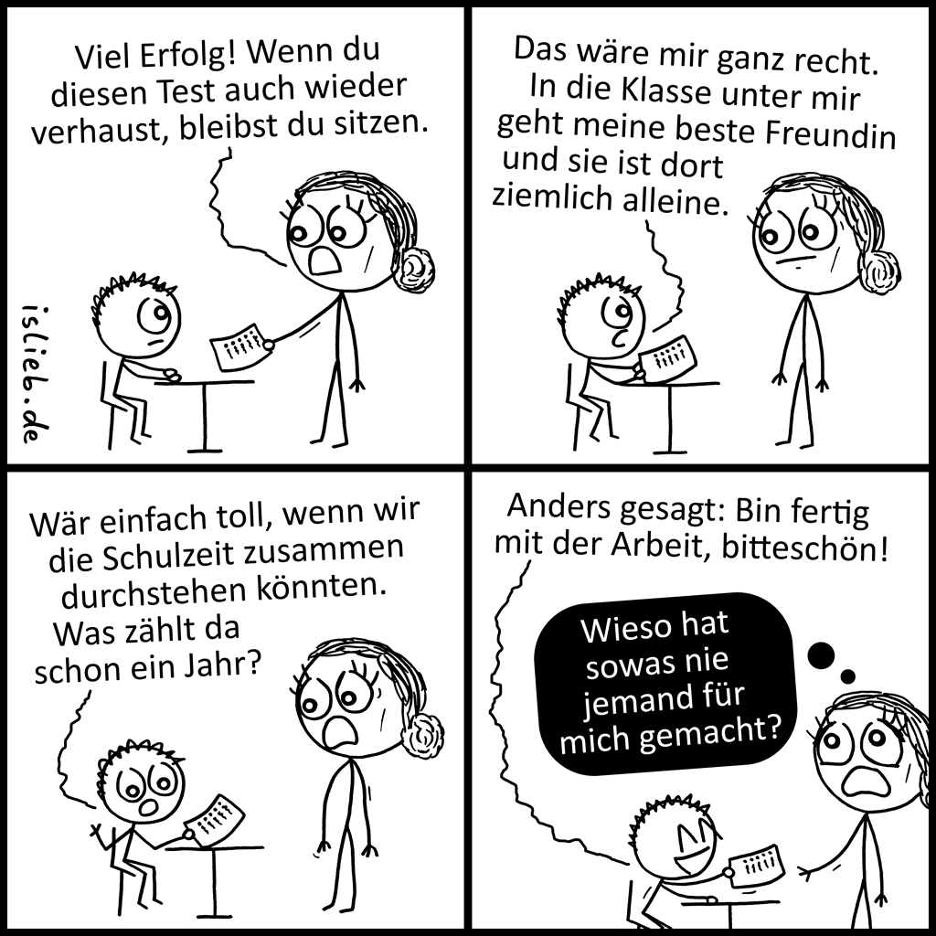 Was zählt | Klausuren-Comic | is lieb?