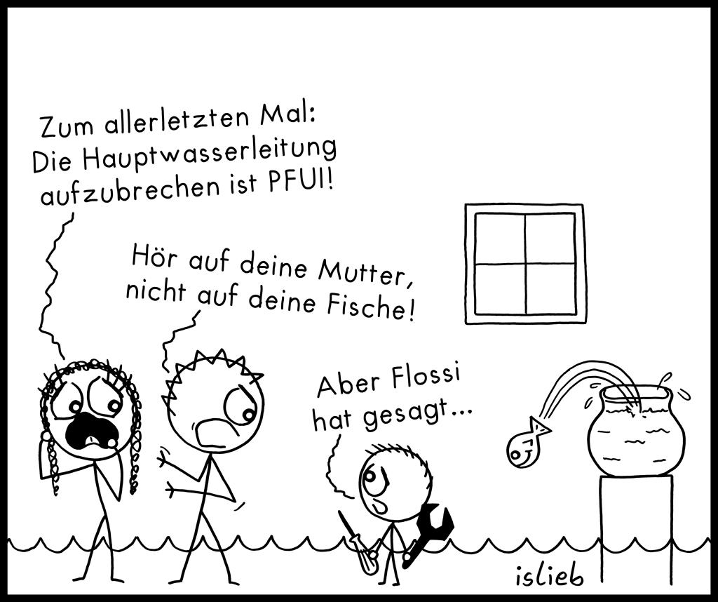 Hauptwasserleitung | Fisch-Cartoon | is lieb?
