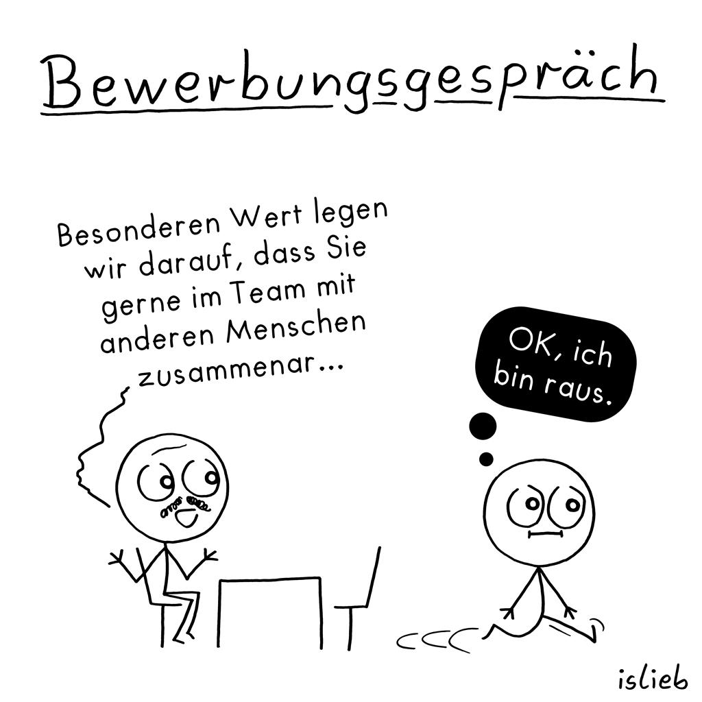Bewerbungsgespräch | Strichmännchen-Cartoon | is lieb?
