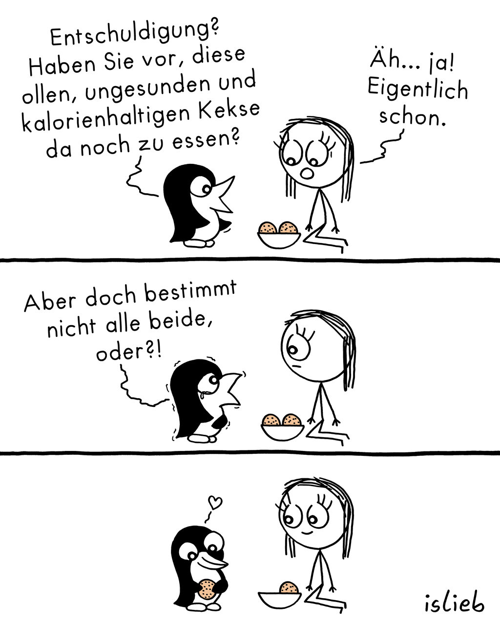 Entschuldigung | Pinguin-Comic | is lieb?