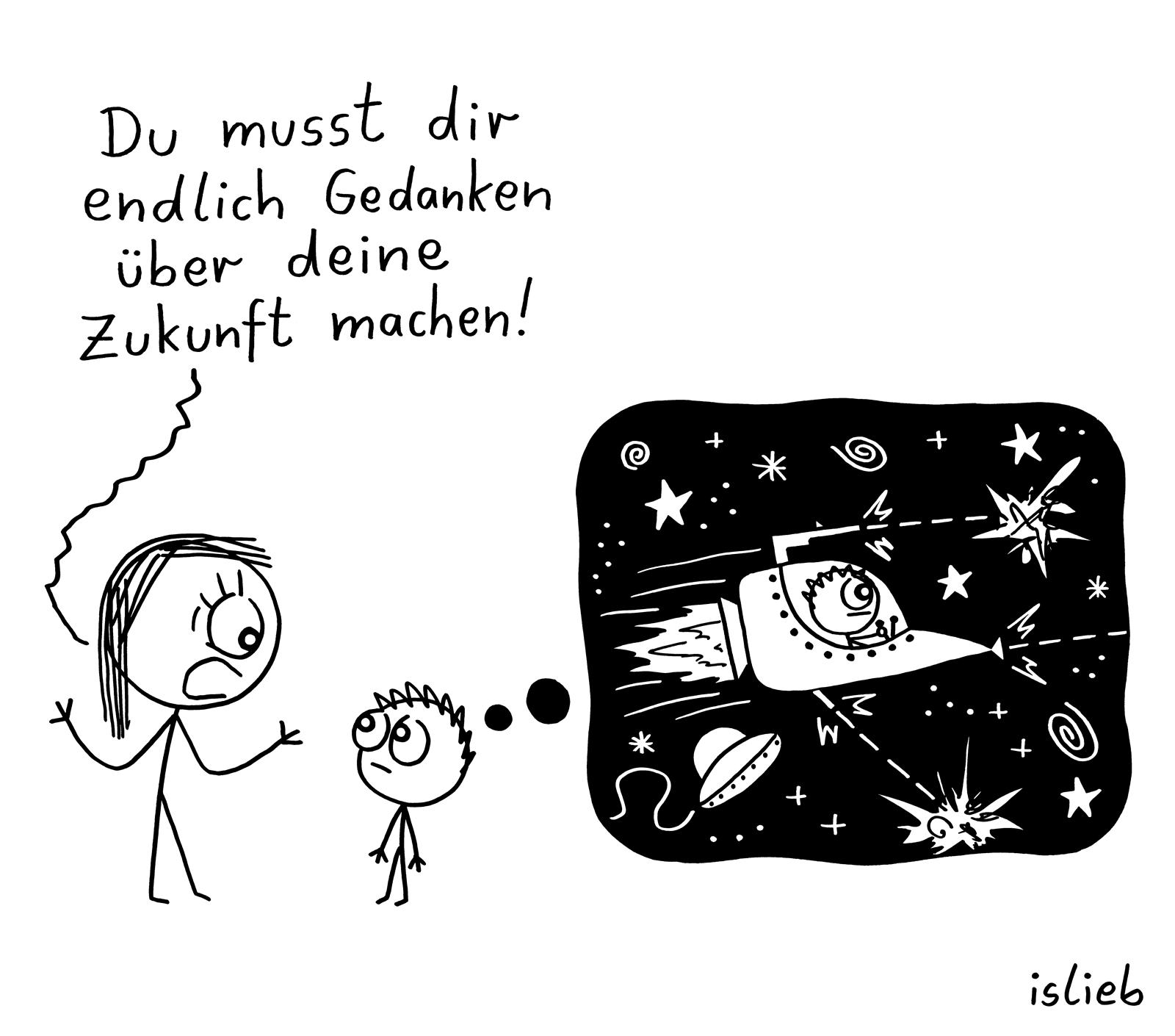 Gedanken machen | Zukunfts-Cartoon | is lieb?