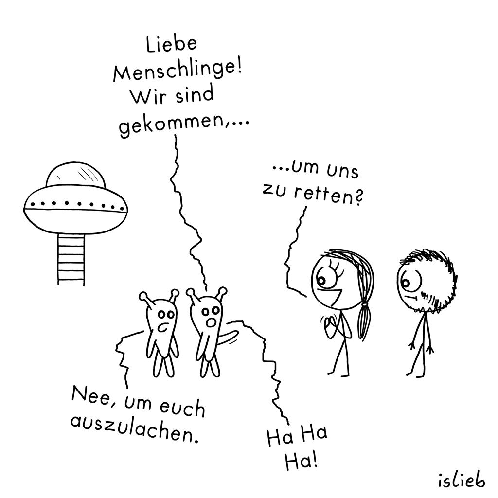 Gekommen | Besucher-Cartoon | is lieb?