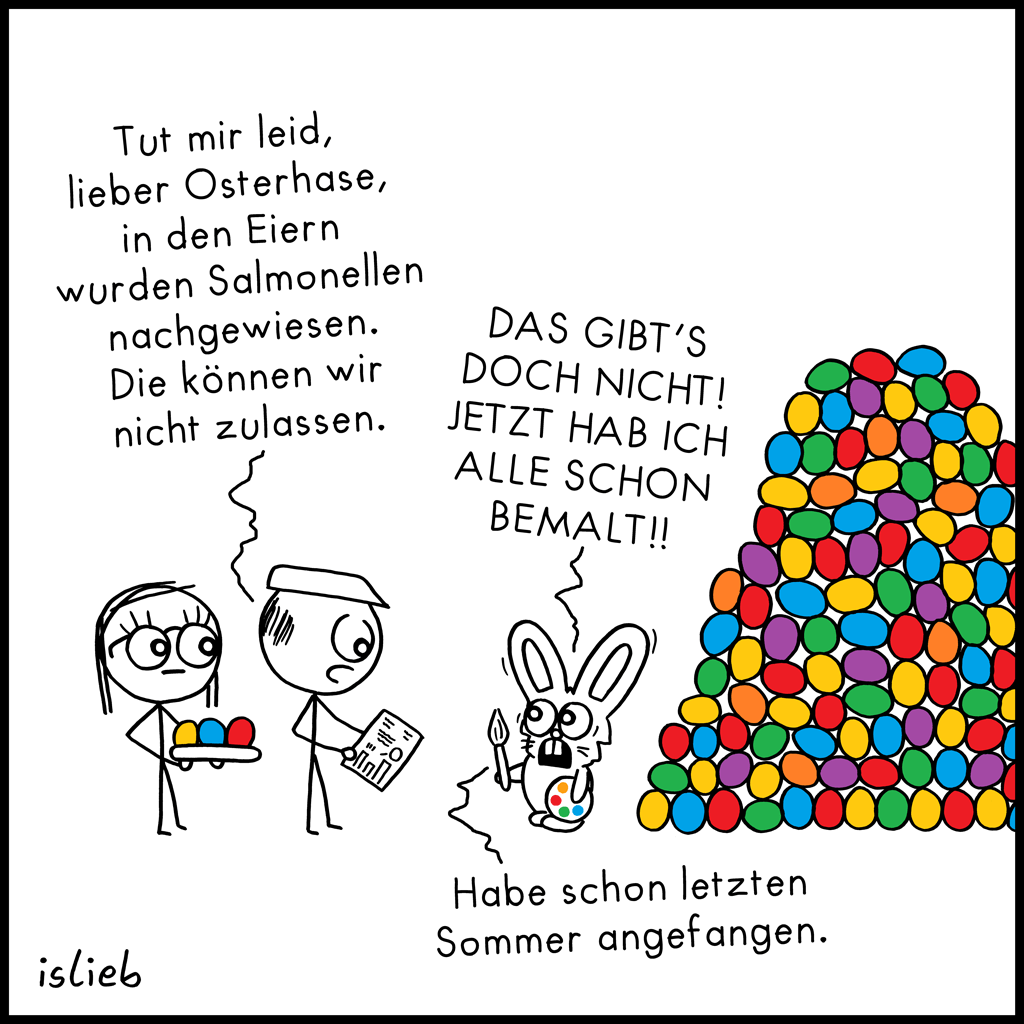 In den Eiern | Oster-Cartoon | is lieb?