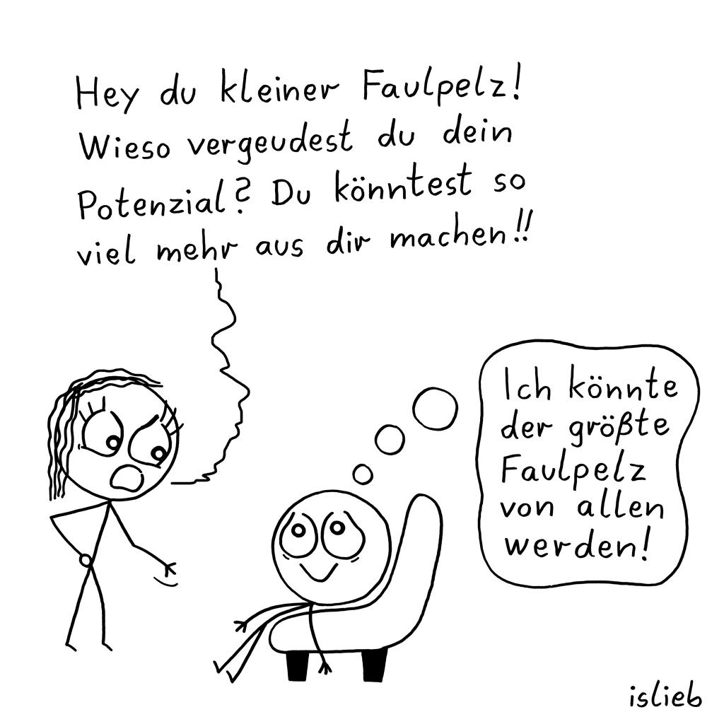 Kleiner Faulpelz | Strichmännchen-Cartoon | is lieb?