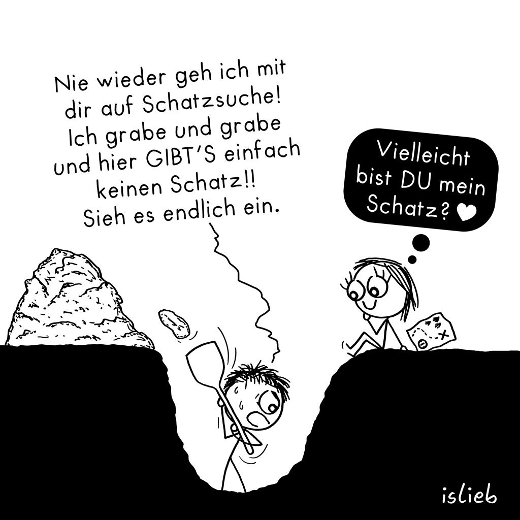 Schatzsuche | Strichmännchen-Cartoon | is lieb?