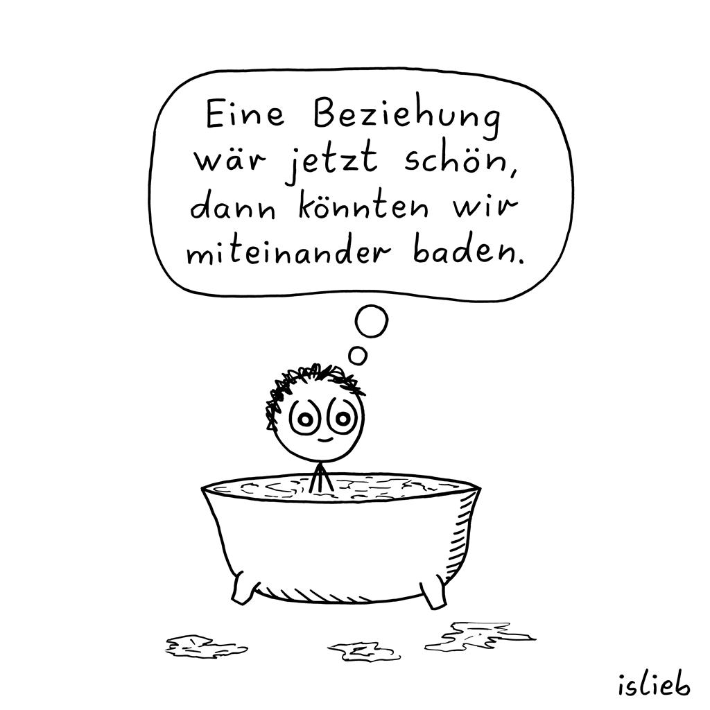Beziehung | Bade-Cartoon | is lieb?