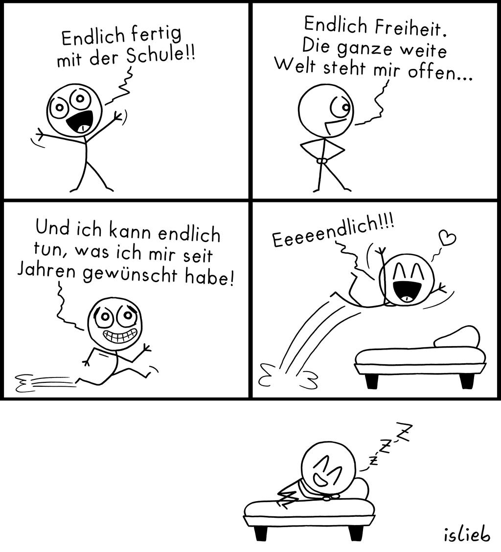 Fertig mit der Schule | Krakel-Comic | islieb