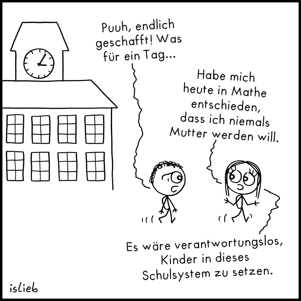Geschafft | Schul-Cartoon | is lieb?