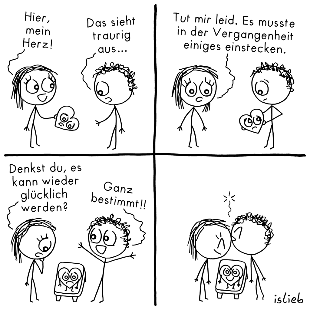 Herz | Strichmännchen-Comic | is lieb?