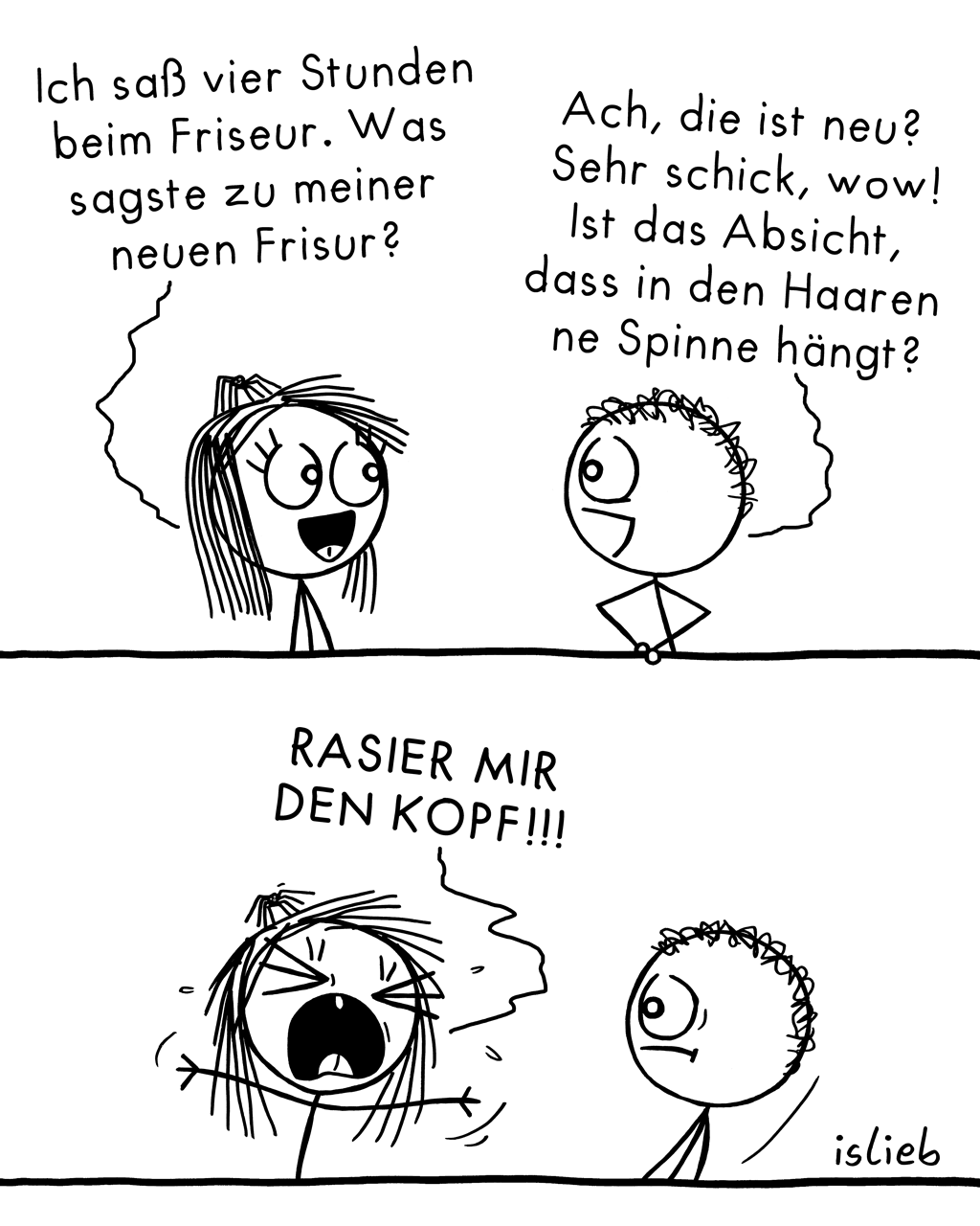 Neue Frisur | Haar-Comic | is lieb?