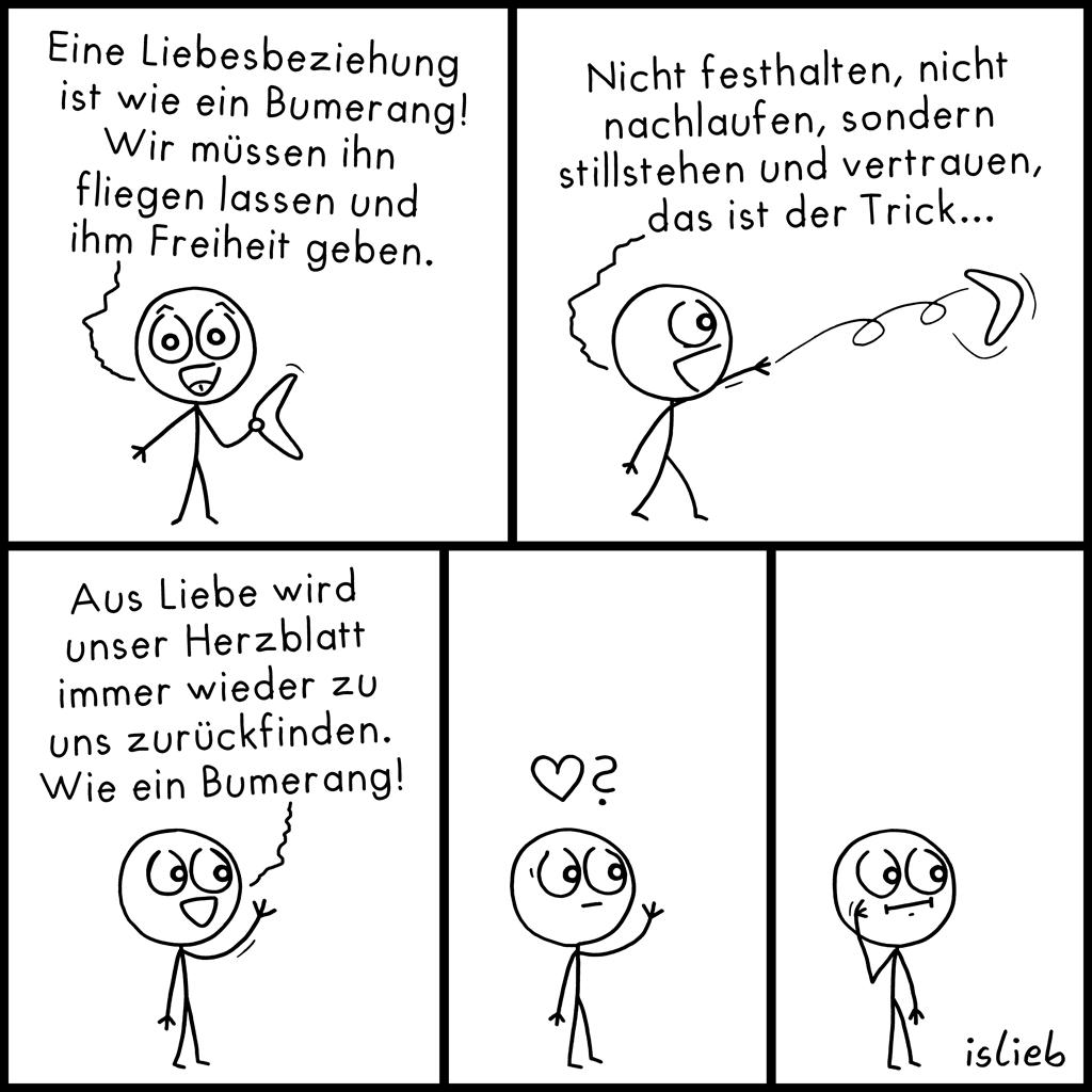 Bumerang | Herzblatt-Comic | islieb