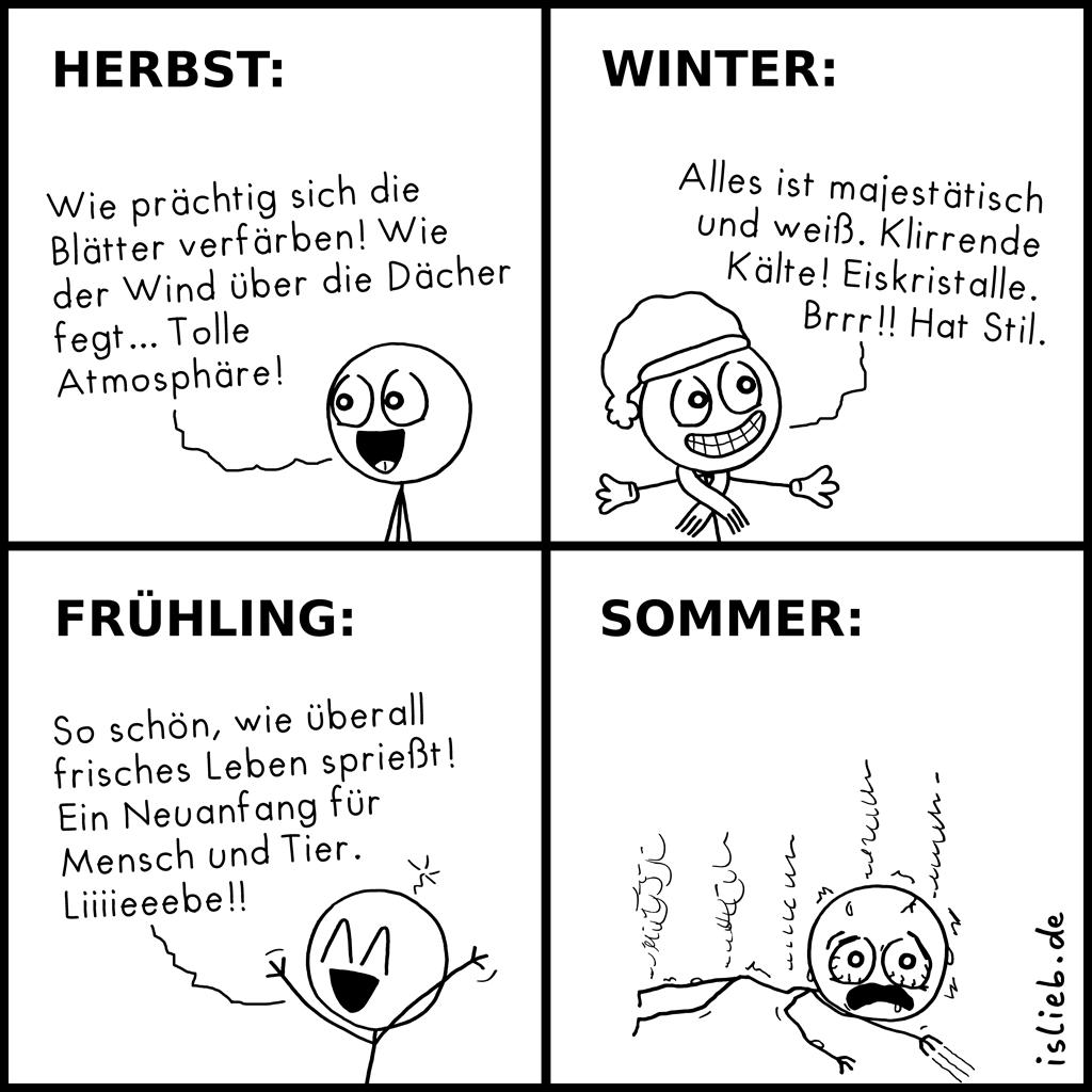Die vier Jahreszeiten | Strichmännchen-Comic | islieb