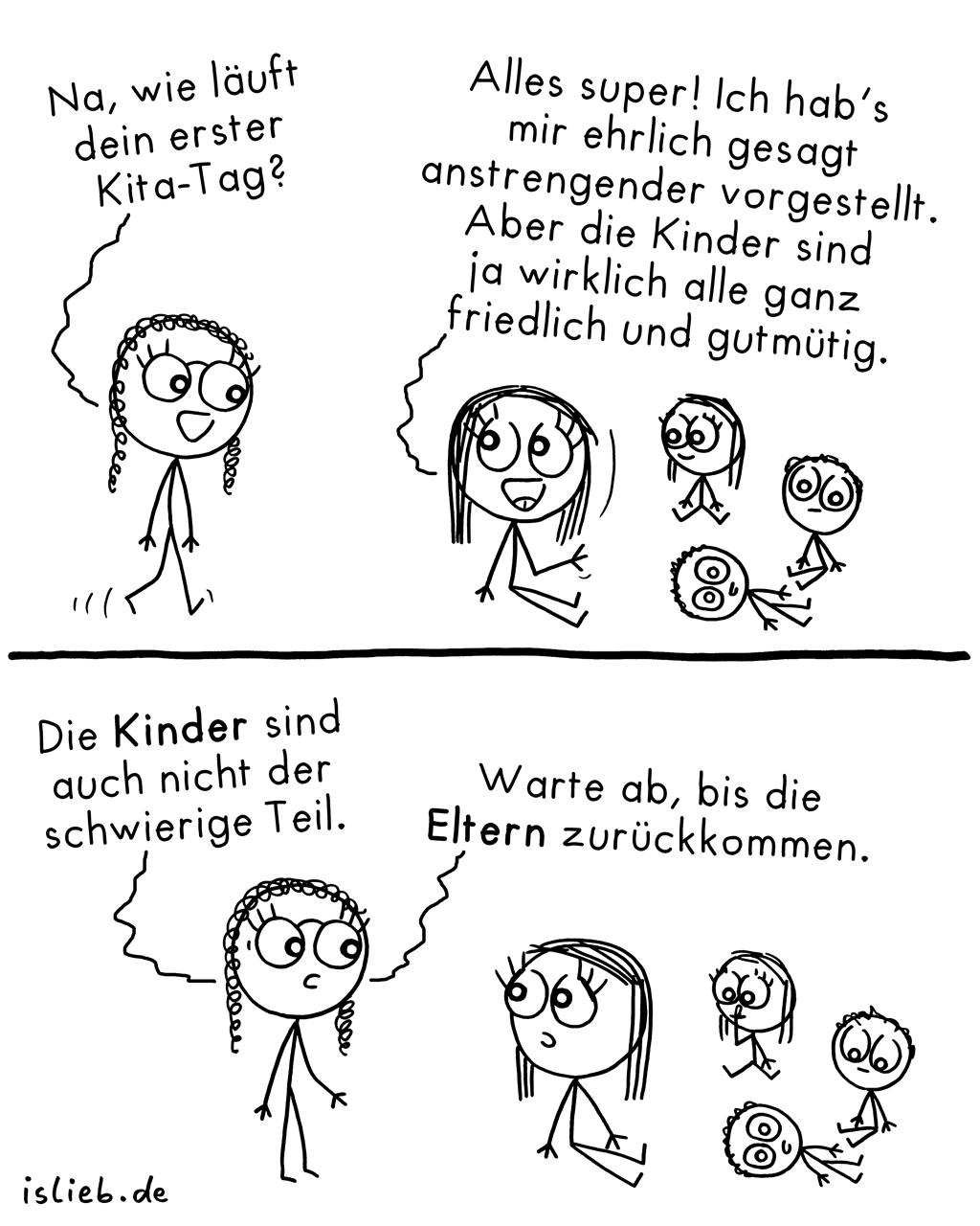 Kita | Strichmännchen-Comic | islieb