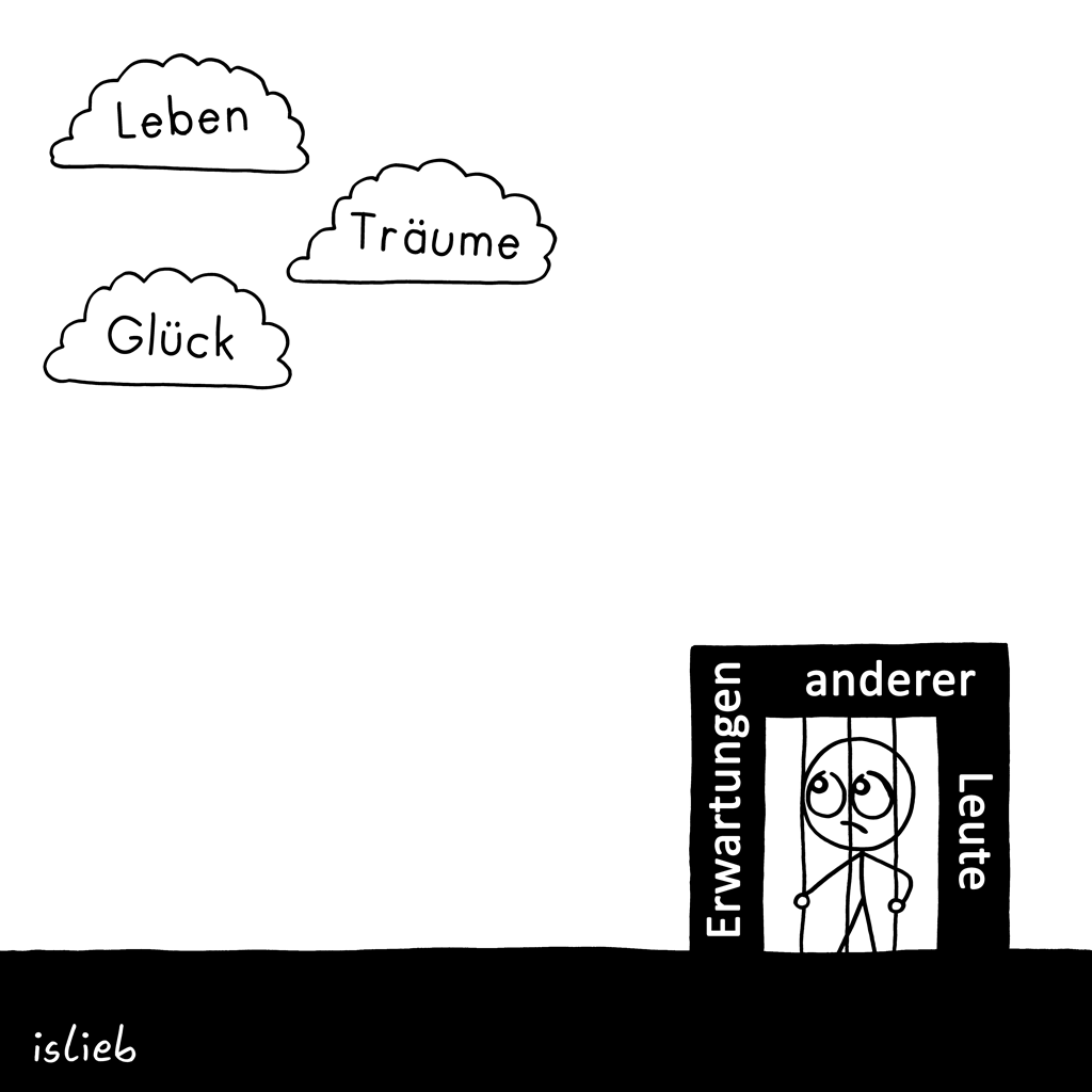 In den Wolken | Strichfigürchen-Cartoon | islieb