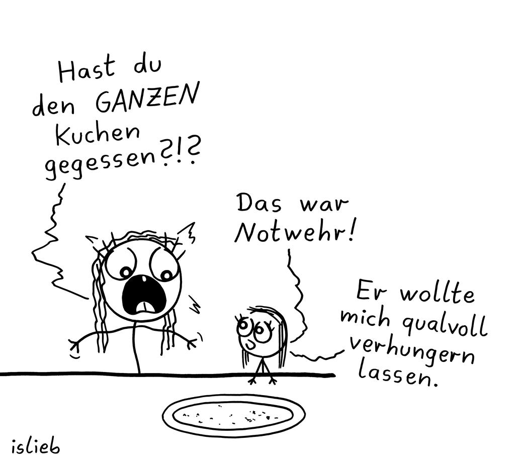 Kuchen | Notwehr-Cartoon | islieb