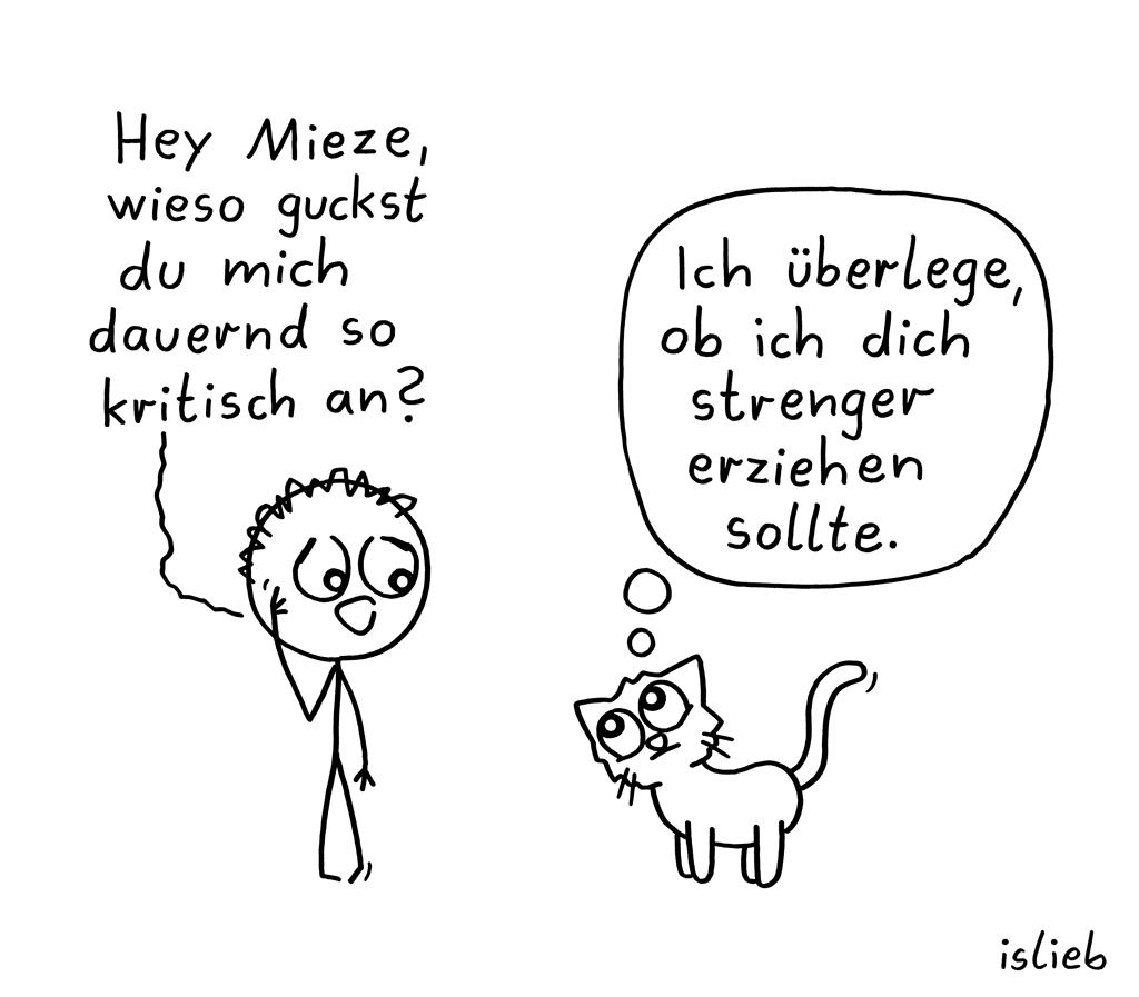 Überlegung | Katzen-Cartoon | islieb